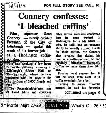 "Sean Connery confession ""I bleached coffins"""