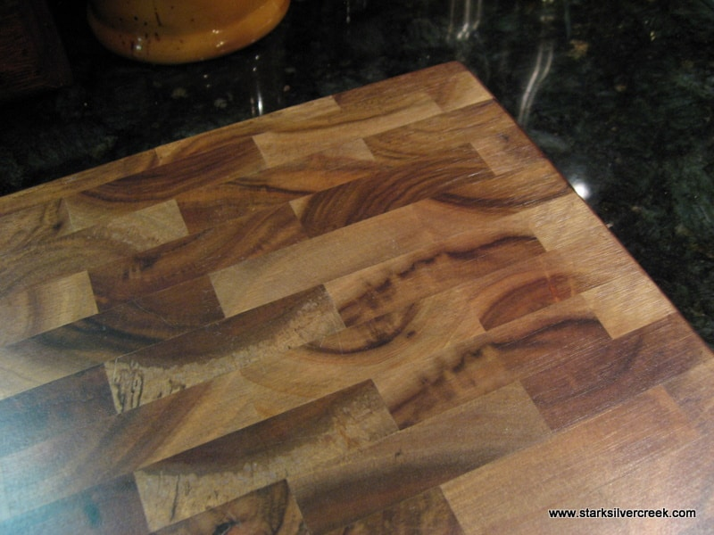 My cutting board after using bee's oil to moisturize and protect.