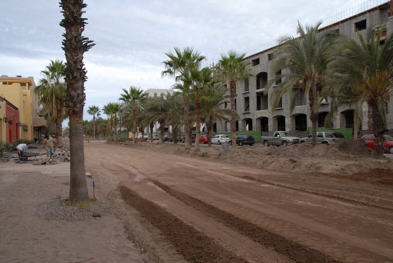 View along the Paseo. This street has been dug up in order to put in t winding paths and improve the look of the main street.