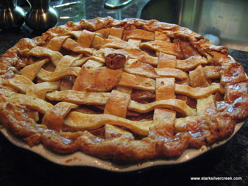 The second apple pie I made. I thought the design in the center was just ok. I know William-Sonoma has different designs for the top that I could have tried out as well. I am contemplating whether the classic lattice really needs further embellishment...
