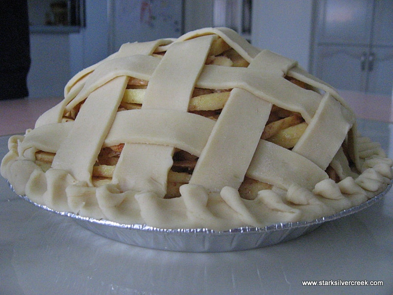 Just before putting on a brushing of cream and popping into the oven. My favorite step of making an apple pie is weaving the lattice on the top. I think it is the ultimate way you make the top crust of an apple pie.
