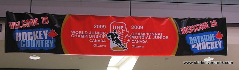 Banner in the baggage claim area of the Ottawa airport in Canada