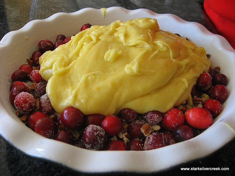Pour wet ingredients over cranberries in a tart dish