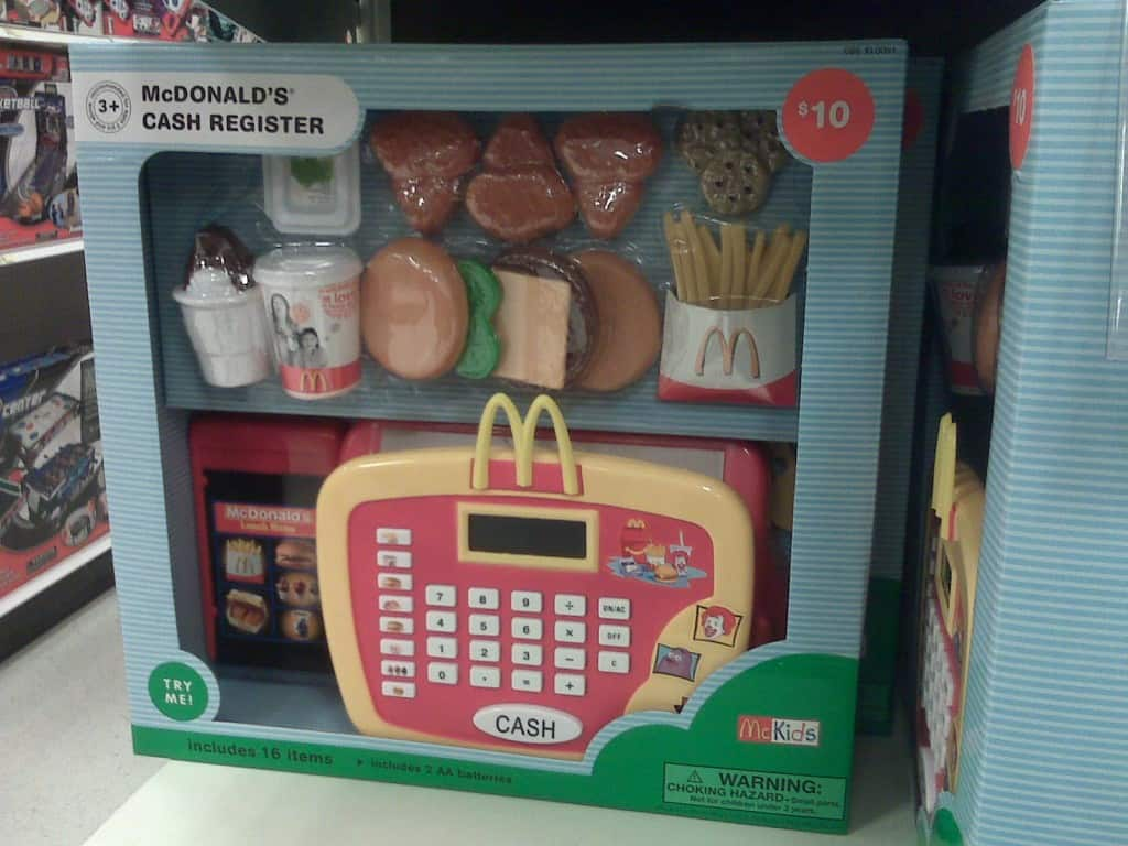 """McDonald's Cash Register. When the buttons are pressed, you hear sayings such as """"french fries"""" and """"hamburger"""""""