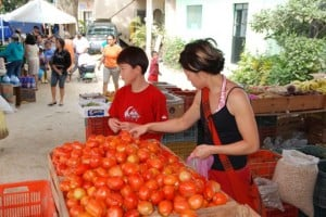 Buying tomatoes at the market