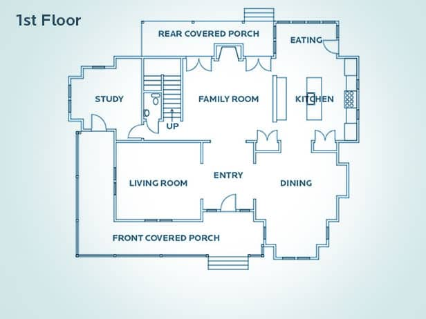 First floor plan. You can see the kitchen is very large and opens into the family room.