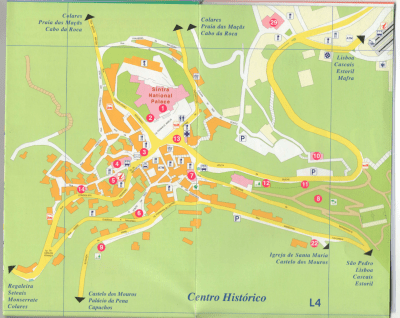 Go to end of this post to see a legend for this map of the Historic Center of Sintra, Portugal