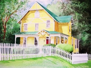 Watercolor by Ron Burkhart (www.memorypainter.com). This is not our home, just liked the artist's work.