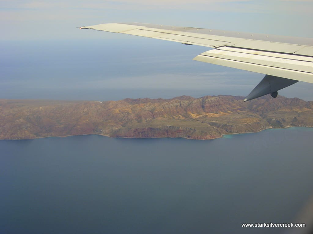 Flying into Loreto on an Alaska Airlines airplane