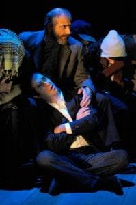 Baba (Thomas Fiscella), Amir (Barzin Akhavan) and ensemble (Adam Yazbeck, Wahab Shayek, Craig Piaget) in an oil tanker in San Jose Repertory Theatre's World Premiere of The Kite Runner. Photo: Kevin Berne