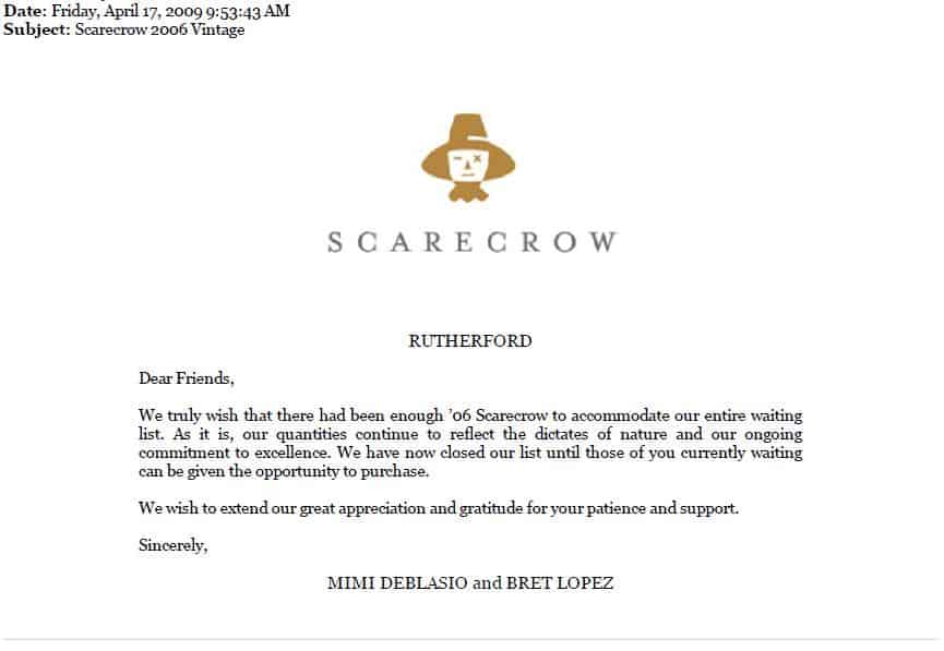 Rejection letter from Scarecrow Wines Stark Insider