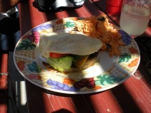 A Vegieburger with Corn Tortillas