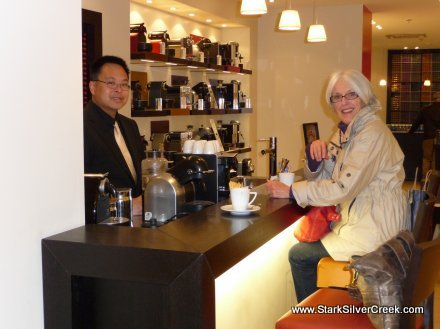 Coffee at the Nespresso Boutique - sporting new jacket purchased at Zara