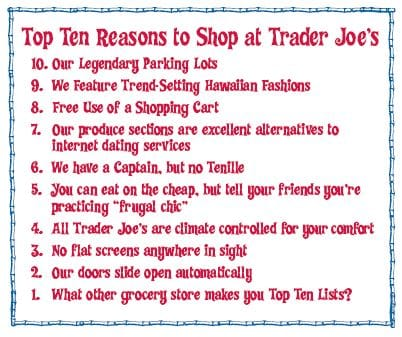 Top 10 Reasons to Shop at Trader Joe's