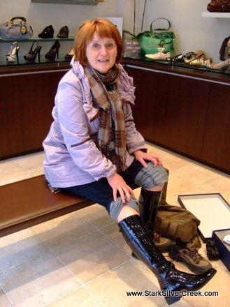 Trying on boots in Yaletown