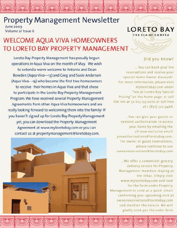 loreto-bay-property-management-newsletter