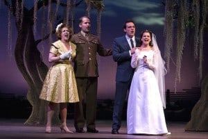 l-r May Bell Whitehead (Allison Briner), Russel Kinsley (James Moye), David Kingsley  (Chris Critelli) and Aileen Garrett (Melissa WolfKlain) in the world  premiere of TINYARD HILL at TheatreWorks.  Photo Credit: Tracy Martin