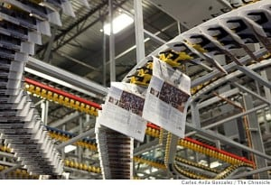 The new San Francisco Chronicle printing presses run by Transcontinental in Fremont during a parallel practice run. (Carlos Avila Gonzalez / The Chronicle)