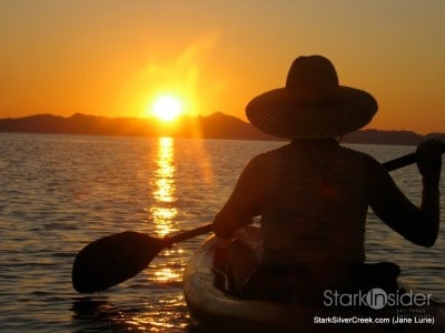Kayak on Loreto Sea of Cortez at sunrise - beautiful