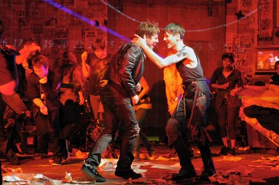 (l to r) John Gallagher, Jr. and Tony Vincent star as Johnny and St. Jimmy in the world premiere of Green Day's American Idiot, staged by Tony-winning director Michael Mayer at Berkeley Rep. Photo courtesy of mellopix.com