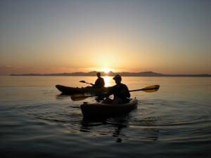 Del and Nancy Kayak in Loreto at Sunrise