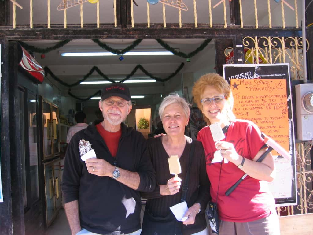Del, Nancy and me at our favorite ice cream shop in Loreto