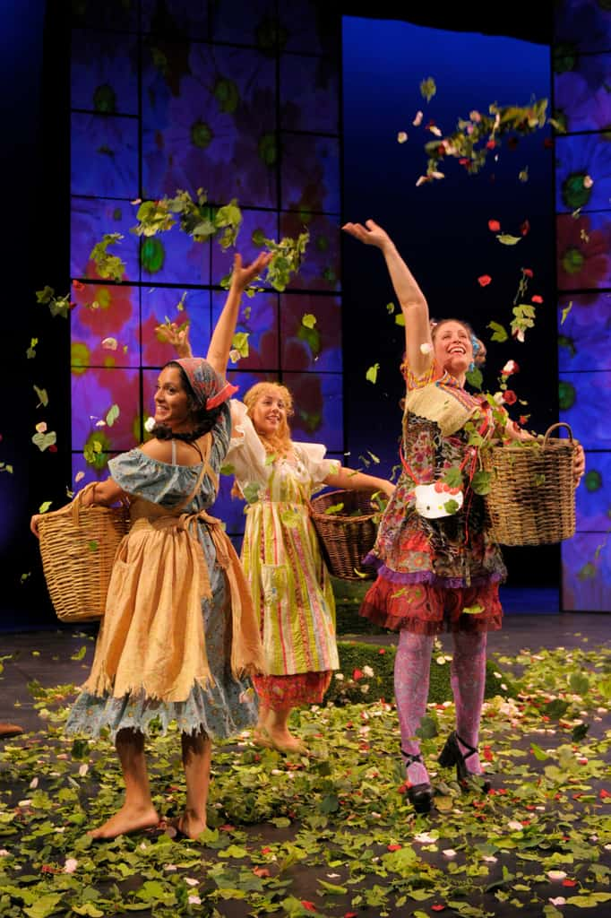 As You Like It: Audrey (Sepideh Moafi), Celia (Cristi Miles) and Phebe (Jeanette Penley) joyfully welcome spring in San Jose Repertory Theatre's production of As You Like It. Photo credit: Kevin Berne