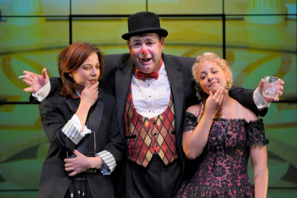 As You Like It: (l to r) Rosalind (Anna Bullard), Touchstone (Steve Irish) and Celia (Cristi Miles) comtemplate the meaning of 'for sworn' in San Jose Repertory Theatre's production of As You Like It. Photo credit: Kevin Berne.