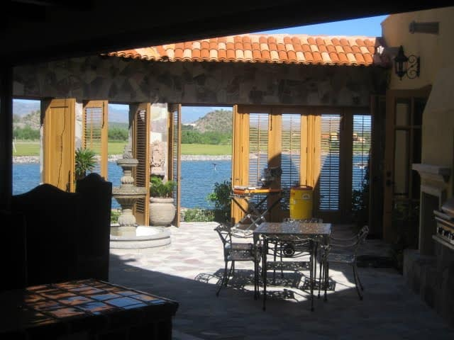 View from the courtyard out to the estuary