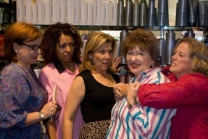 Join six unforgettable ladies who visit the Chinquapin, Louisiana salon to gossip, chat, share recipes, share tears, and least of all, get their hair done in Hillbarn Theatre's upcoming production of Steel Magnolias. Featured from left to right are characters Annelle (Heather Galli), Truvy (Damaris Divito), M'Lynn (Mary Moore), Ouiser (Janice Leone), Clairee (Carolyn Ford Compton). Steel Magnolias opens on October 23 and runs through November 8. Preview night is October 22. Thursday, Friday and Saturday night shows are at 8 pm and Sundays at 2 pm. For information about Girl's Night Out Specials and Glamour Nights or for tickets please call the Box Office at 650 349-6411 or buy tickets online at hillbarn.theatre.org.