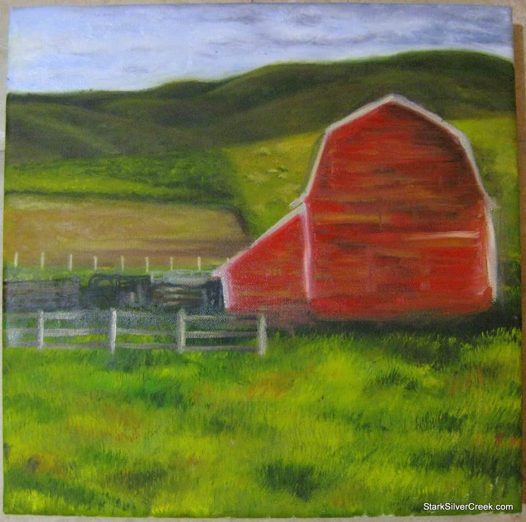 Oil-Painting-Red-Barn-Progress