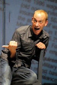 At Berkeley Rep, Jim Lichtscheidl stars in the West Coast premiere of Tiny Kushner, a series of short scripts by Tony Kushner. Photo courtesy of mellopix.com