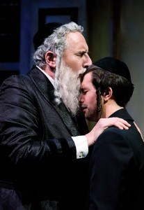 l-r Reb Saunders (Corey Fischer) and his son Danny Saunders (Thomas Gorrebeeck) in THE CHOSEN at TheatreWorks.  Photo Credit: Tracy Martin