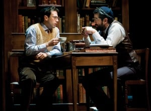 l-r Young Reuven Malter (Jonathan Bock) shares a cup  of tea with his father, David Malter (Rolf Saxon) in  THE CHOSEN at TheatreWorks.  Photo Credit: Mark Kitaoka