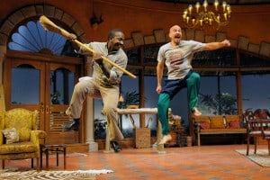 Groundswell 3: (l to r) Thami (Dwight Huntsman) teaches Johan (Scott Coopwood) a South African tribal dance in San Jose Rep's West Coast premiere of Groundswell.  Photo: Kevin Berne