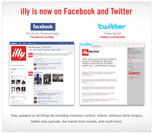 Illy on Facebook and Twitter