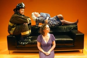 l-r, Derek Fischer, Paiger Rogers, and Caitlyn Louchard (front) in THE BALD SOPRANO