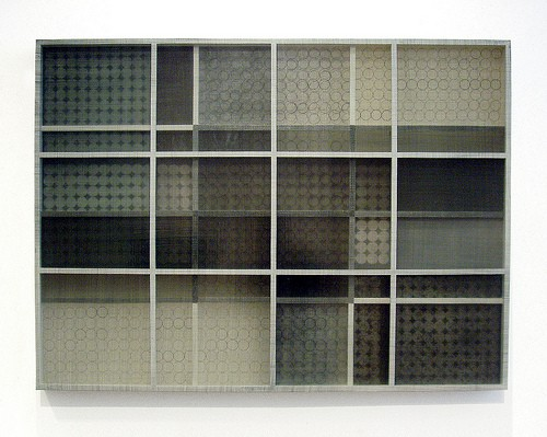Theodora Varnay Jones, Transparency #32, 2007, color etching, acrylic polymer, pigments, wood structure, 14 1/4 x 14 1/4 x 4 inches, Courtesy of the Artist and Don Soker Contemporary Art, SF