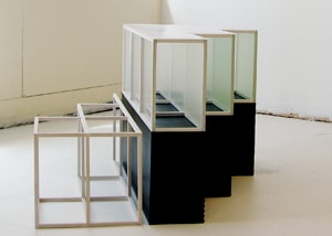 Theodora Varnay Jones, step a, Side B,  2006-2009, synthetic materials, pigments, rubber, wood structure24 X 35 1/2 X 34 inches, Courtesy of the Artist and Don Soker Contemporary Art, SF