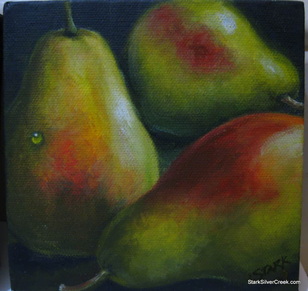 Second pear painting of three pairs. I enjoyed playing around with the various reds, yellows, and greens in this painting.