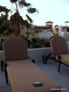 Lounging on the terrace of Casa McGraw in Loreto Bay