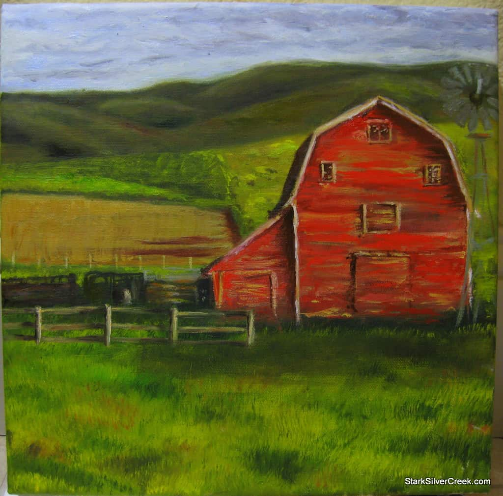 My third painting: Constructing the red barn and the ...