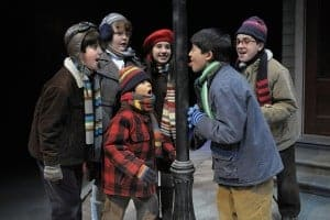 A Christmas Story: (l to r)  Schwartz (Ali Molaei), Helen Weathers (Elara Rivers), Randy Parker (Emilio Fuentes), Esther Jane Alberry (Leah Kolchinsky) and Ralphie Parker (Garrett Meyer) are shocked as Flick's (Nicolas Sancen) tongue sticks against the lamp post in San Jose Repertory Theatre's A Christmas Story. Photo: Kevin Berne