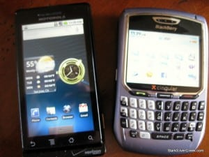 Motorola Droid and BlackBerry 8700