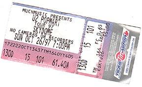U2 PopMart Ticket Toronto Skydome 1997
