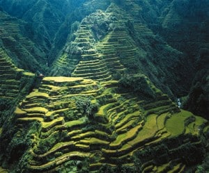 The Banaue Rice Terraces carved into the mountains of Ifugao in the Philippines