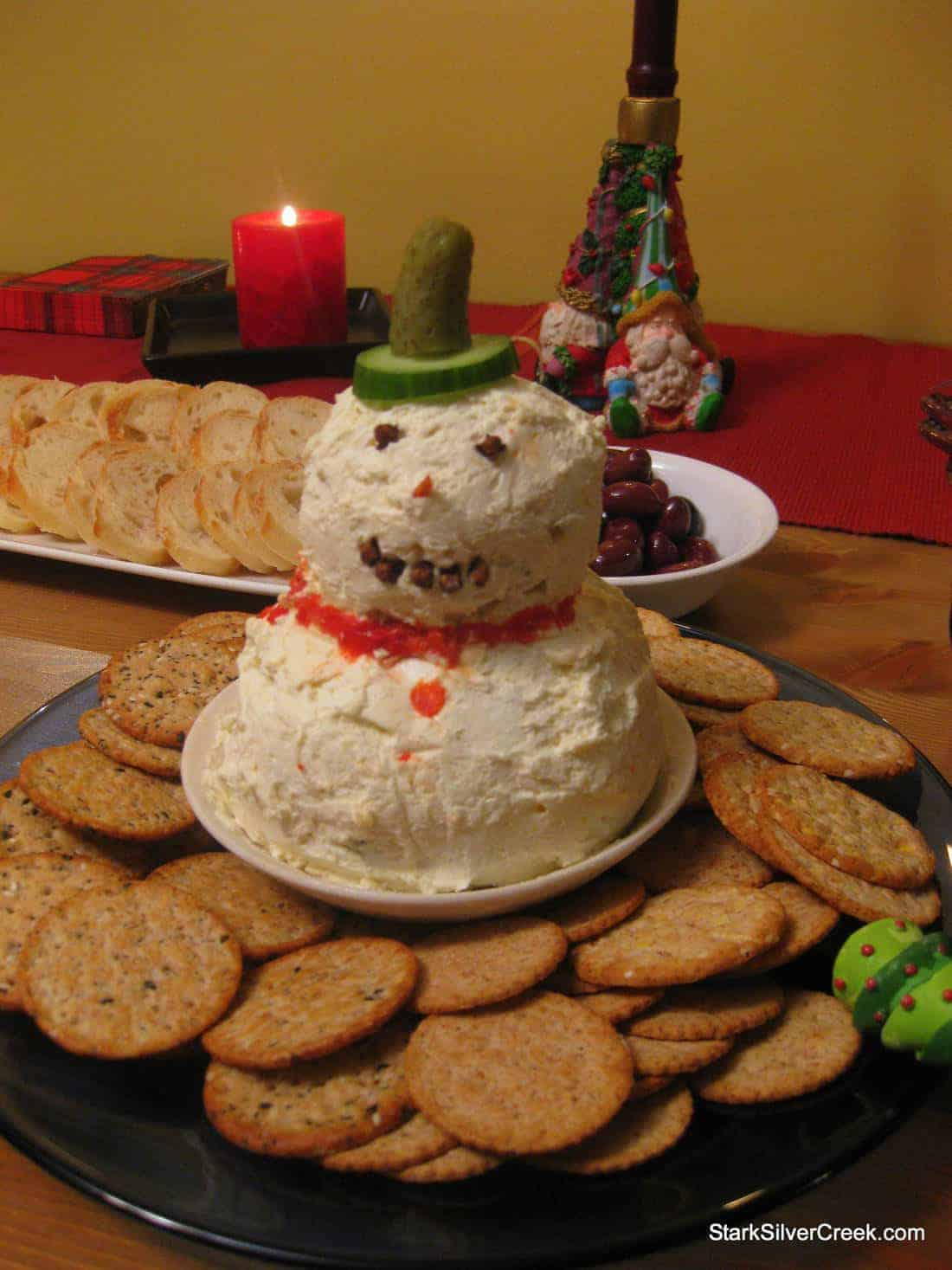 Holiday eats potluck appetizers tips for christmas eve parties mr frosty made out of cheesehe has a higher melting point that way forumfinder Images