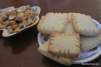 Homemade shortbread cookies and plump cashews are the perfect energy boost to pair with the activity of opening Christmas presents.
