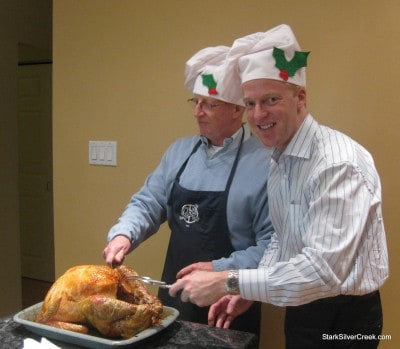 Our Christmas turkey on the operating table.