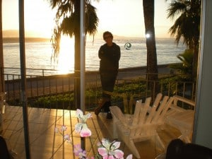 Sharon on the Balcony at the Estero Beach Hotel at Sunset